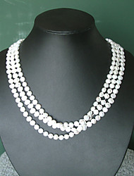 Super Long White Fresh Water Pearl Necklace/ Free Style Elegant Style