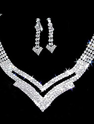 "cheap -Gorgeous Rhinestone Two Piece Cutout ""V"" Design Ladies' Jewelry Set (45 cm)"