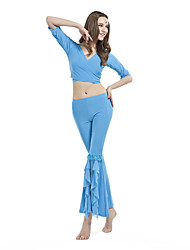 Belly Dance Outfits Women's Training Crystal Cotton Half Sleeve Dropped