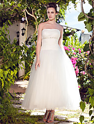 cheap -Ball Gown Strapless Ankle Length Tulle Wedding Dress with Beading Draped Ruche by LAN TING BRIDE®