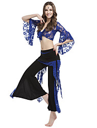 cheap -Belly Dance Outfits Women's Training Crystal Cotton Lace Lace 3/4 Length Sleeves Dropped Top Pants