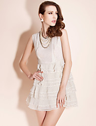 economico -ts polka dot ruffle dress a cascata