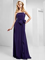 economico -Linea-A Con bretelline Lungo Chiffon / Raso elasticizzato Serata formale Vestito con Fiocco (fiocchi) / Drappeggio di lato di TS Couture®