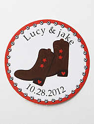 cheap -Personalized Round Favor Stickers – Boots (Set of 36)