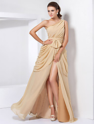 A-Line Princess One Shoulder Floor Length Chiffon Evening Dress with Lace by TS Couture®