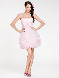 A-Line Ball Gown Strapless Short / Mini Organza Bridesmaid Dress with Bow(s) Pick Up Skirt Criss Cross by LAN TING BRIDE®