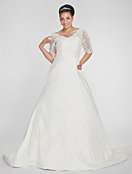 cheap -A-Line V-neck Chapel Train Taffeta Wedding Dress with Beading Appliques Side-Draped by LAN TING BRIDE®