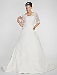 Linha A Decote V Cauda Capela Tafetá Vestido de casamento com Miçangas Apliques Drapeado Lateral de LAN TING BRIDE®