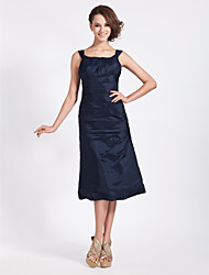 A-Line Princess Square Neck Tea Length Taffeta Bridesmaid Dress with Side Draping by LAN TING BRIDE®