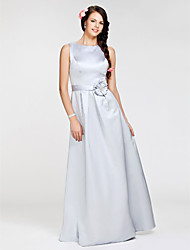 A-Line Princess Bateau Neck Floor Length Satin Bridesmaid Dress with Flower(s) Sash / Ribbon by LAN TING BRIDE®
