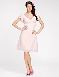 A-Line Princess V-neck Knee Length Chiffon Bridesmaid Dress with Criss Cross by LAN TING BRIDE®