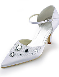 cheap -Women's Shoes Silk Summer Stiletto Heel Sparkling Glitter Hollow-out for Wedding Party & Evening Dress White
