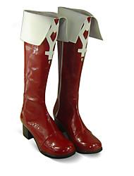 baratos -Botas de Fantasia Puella Magi Madoka Magica Kyoko Sakura Anime Sapatos de Cosplay PU Leather Mulheres