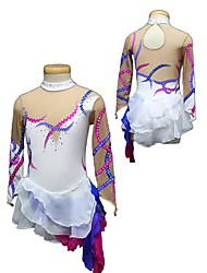 cheap -Figure Skating Dress Women's Girls' Ice Skating Dress Spandex Rhinestone Performance Skating Wear Handmade Long Sleeves Ice Skating