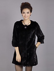 cheap -3/4 Sleeve Collarless Evening Mink Fur Coat