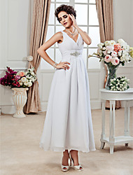 cheap -A-Line Princess V Neck Ankle Length Chiffon Custom Wedding Dresses with Beading Side-Draped Ruched by LAN TING BRIDE®