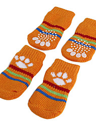 Dog Socks Casual/Daily Keep Warm Winter Spring/Fall Stripe Orange Green Blue Pink Cotton