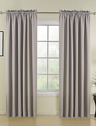 cheap -Rod Pocket Grommet Top Tab Top Double Pleat Curtain Modern Solid Polyester Material Home Decoration