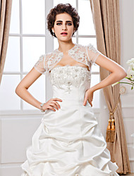 Wedding  Wraps Shrugs Short Sleeve Lace White Wedding / Party/Evening T-shirt Open Front