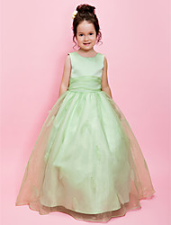 cheap -A-Line / Ball Gown Floor Length Flower Girl Dress - Organza / Satin Sleeveless Jewel Neck with Beading / Sash / Ribbon by LAN TING BRIDE® / Spring / Summer / Fall / Wedding Party