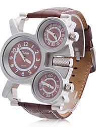 Недорогие -Мужской Армейские часы С тремя часовыми поясами Кварцевый PU Группа Коричневый
