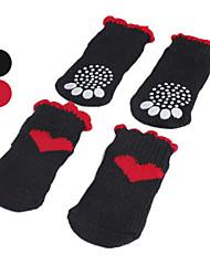 povoljno -Pas Čarape Ležerno/za svaki dan Ugrijati Srce Crn Crvena Za kućne ljubimce