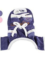 Cani Pantalone Blu / Rosa Abbigliamento per cani Inverno Cuori