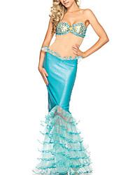 Недорогие -Море Diva взрослых Женская Сексуальная мифические Небесно-голубой Русалка Хэллоуин костюмы (3pieces)