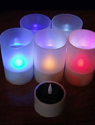 cheap -Solar Powered LED Rechargeable Single Color Flameless Candle Lamp