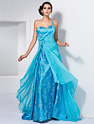 A-Line Princess One Shoulder Sweetheart Sweep / Brush Train Chiffon Prom Dress with Flower by TS Couture®