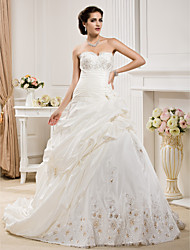 cheap -Ball Gown Sweetheart Court Train Taffeta Wedding Dress with Beading Appliques Pick-Up Ruche by LAN TING BRIDE®