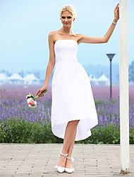 cheap -A-Line Strapless Asymmetrical Taffeta Made-To-Measure Wedding Dresses with by LAN TING BRIDE® / Little White Dress