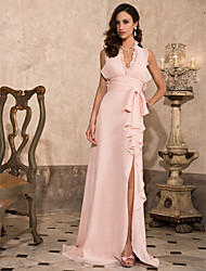 Sheath / Column Halter V-neck Sweep / Brush Train Chiffon Prom Dress with Draping by TS Couture®