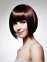 billige -Syntetiske parykker Lige Stil Lågløs Paryk Rød Bourgogne Syntetisk hår 12 inch Dame Rød Paryk