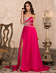 A-Line Princess Strapless Sweetheart Court Train Chiffon Evening Dress with Beading by TS Couture®