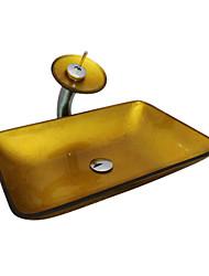billige -Moderne Kvadrat sink Materiale er Hærdet Glas Badeværelse Håndvask Badeværelse Vandhane Badeværelse Monteringsring Badeværelse Vandafløb