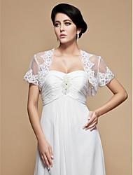 Wraps Wedding Coprispalle Maniche corte Tulle Bianco Matrimonio / Da sera 34cm Ricamate Aperte Si