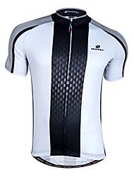 economico -Nuckily Per uomo Manica corta Maglia da ciclismo - Bianco / Nero Bicicletta Maglietta / Maglia, Asciugatura rapida, Traspirante
