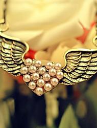 Feminino Colares com Pendentes Colares Declaração Formato de Coração Asas / Penas Liga Amor Bronze Jóias Para