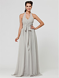 cheap -A-Line Princess V Neck Halter Floor Length Chiffon Bridesmaid Dress with Draping Sash / Ribbon Ruched by LAN TING BRIDE®