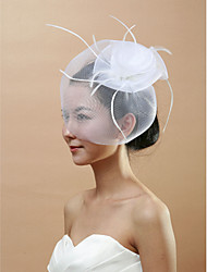 cheap -One-tier Cut Edge Wedding Veil Blusher Veils Birdcage Veils 53 Feather Tulle