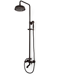 Antique Shower System Rain Shower Handshower Included Brass Valve Three Holes Two Handles Three Holes Oil-rubbed Bronze , Shower Faucet