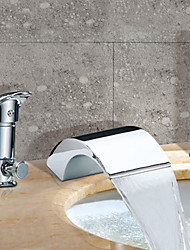 Contemporary Roman Tub Waterfall / Widespread with  Ceramic Valve Two Handles Three Holes for  Chrome , Bathtub Faucet