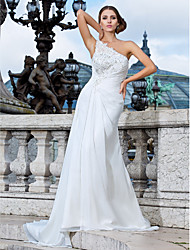 Sheath / Column One Shoulder Sweep / Brush Train Chiffon Wedding Dress with Beading Appliques Side-Draped by LAN TING BRIDE®