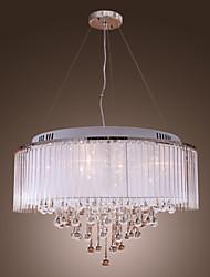 economico -Lampadario pendente in cristallo, bianco, 8 luci, con paraluce in tessuto