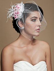 cheap -Crystal Fabric Tiaras Blusher Veils Birdcage Veils with Feather 1 Wedding Party / Evening Headpiece