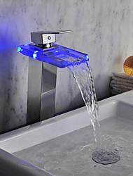 baratos -Hidrelétrica de acabamento cromado Cachoeira LED Vidro FaucetTall pia do banheiro)
