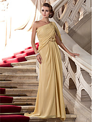 Sheath / Column One Shoulder Sweep / Brush Train Chiffon Formal Evening Dress with Beading Flower(s) by TS Couture®
