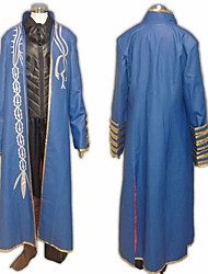 billige -Inspireret af Devil May Cry Vergil video Spil Cosplay Kostumer Cosplay Suits Patchwork Blå Langt Ærme Jakke / Vest / Bukser