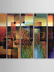 cheap -Canvas Oil Paintings Set of 5 Modern Abstract Reds Block Hand-painted Canvas Painting Ready to Hang